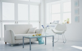 Picture style, sofa, room, interior, flowers, apartment, plants, white, chair, design