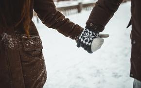 Picture winter, girl, snow, love, guy, mittens, seruku