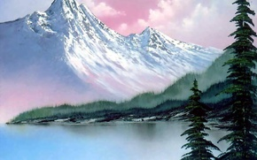 Picture forest, the sky, water, snow, trees, landscape, mountains, lake, spruce, picture, haze, painting, Bob Ross, …