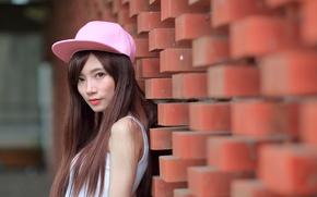 Picture girl, face, hair, cap, Asian