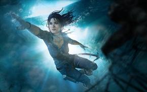 Picture sea, girl, lara croft, tomb raider, under water, underwater, art, floats