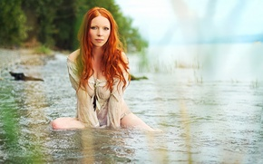 Picture girl, nature, river
