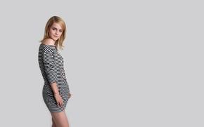 Picture girl, sweetheart, model, dress, actress, Emma Watson, Emma Watson, grey background, striped