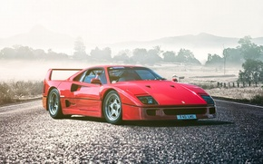Picture Ferrari, Red, F40, Car, Front, Legend, Road, Supercar