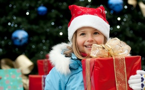 Wallpaper children, smile, holiday, box, gift, new year, jacket, girl, tape, gloves, new year, bow, red, ...