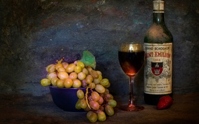 Picture bottle, still life, Wine the essence of life, bunch, grapes, glass