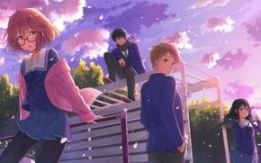 Picture Anime, kyoukai no kanata, Hiromi, NASA, Mirai Kuriyama, Akihito Kambara, Mitsuki, Nase, Playground.