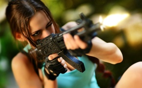 Picture shot, machine, gloves, Tomb Raider, Lara Croft, cosplay, Lara Croft