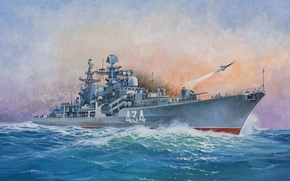Picture ship, art, Navy, military, Russian, destroyer, destroyer, Modern