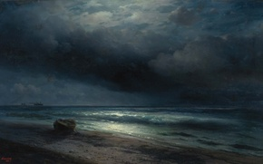 Picture wave, light, clouds, shore, boat, horizon, Aivazovsky, moonlit night at sea