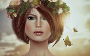Picture girl, face, butterfly, haircut, portrait, brunette, wreath