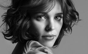 Picture actress, woman, beauty, canadian, actress, portrait, rachel mcadams, Rachel McAdams, black n' white