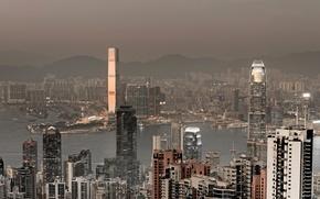 Picture sea, mountains, Hong Kong, skyscrapers, port, panorama, China, megapolis