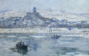 Wallpaper landscape, river, Vétheuil In Winter, boat, picture, Claude Monet