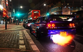 Picture fire, Nissan, GT-R, cars, Skyline, London, R33