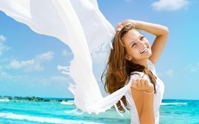 Picture sea, summer, girl, joy, mood