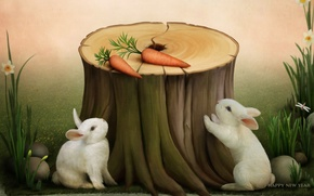 Picture holiday, carrot, rabbit, stump, happy new year, congratulations, symbol of the year, postcard