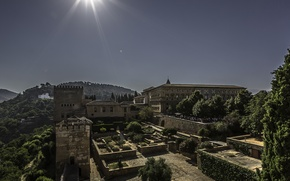 Picture mountains, Park, architecture, Spain, Palace, Islam, Granada, Alhambra