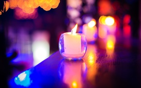 Picture night, lights, reflection, candle, glass, Candles