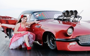 Picture look, girl, red, style, makeup, dress, sports car
