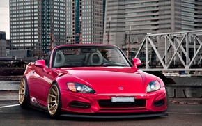 Picture bridge, the city, red, Honda, skyscrapers, S2000, front, roadster