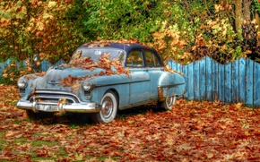 Picture autumn, trees, retro, foliage, the fence, HDR, car, «Oldsmobile»