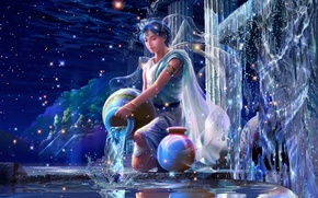 Picture water, squirt, stars, fantasy, crystals, fantasy, Aquarius, constellation, Palace, stars, the young man, CG wallpapers, …
