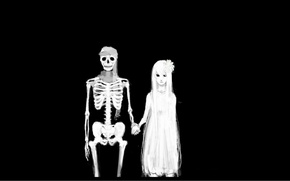 Picture death, the bride, the groom, Skeleton