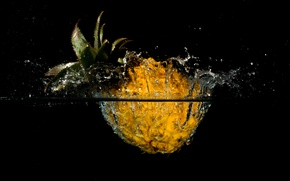 Picture splash, pineapple, water, the fruit, squirt