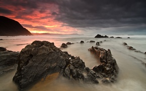 Picture sea, beach, sunset, stones
