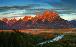 Wallpaper Wyoming, autumn, mountains, river, America, forest
