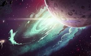 Picture space, planet, stars, art, meteorites