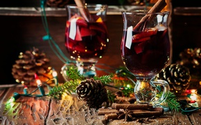 Picture holiday, Board, new year, Christmas, glasses, tree, drink, needles, light bulb, bumps, spices, mulled wine