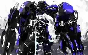 Picture girl, robot, sword, art, unique style