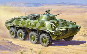 Picture combat, Soviet, APC, BTR-70, armored car, wheel, floating, in Afghanistan