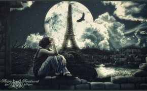 Picture the moon, tower, Girl