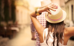 Picture girl, background, widescreen, Wallpaper, mood, blur, hat, wallpaper, bracelet, decoration, topic, hat, nails, widescreen, lacquer, …