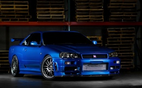 Picture nissan, skyline, blue, gtr, r34, turbonetics
