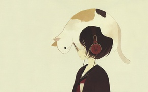 Picture cat, mood, minimalism, anime, art, neko