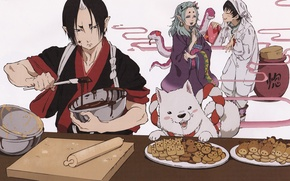 Picture snakes, joy, chocolate, dog, cookies, the demon, kimono, cooking, shiro, hoozuki, hoozuki no reitetsu, okou, …
