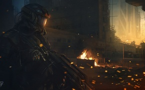 Wallpaper the city, weapons, fire, art, sparks, soldiers, machine, helmet
