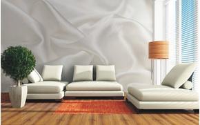 Picture design, style, room, Wallpaper, interior, sofas, tree