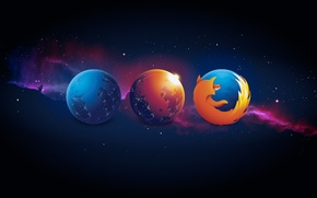 Picture space, planet, stars, browser, the transformation, mozilla firefox