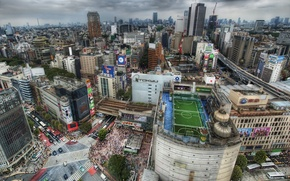 Picture road, field, HDR, home, Japan, roof, Tokyo, megapolis, the crowd, people, football
