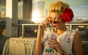Picture girl, juice, rose, woman, model, NBA, Lakers, blonde, female, sunglasses, gaze, sun glasses, Katy Shipley, …