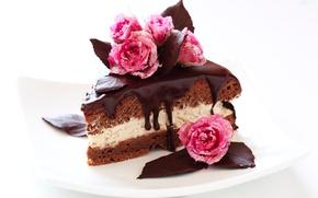 Wallpaper chocolate, roses, cake, sugar, cake, cake, cream, dessert, cakes, cake, sweet, chocolate, glaze, dessert, piece, ...