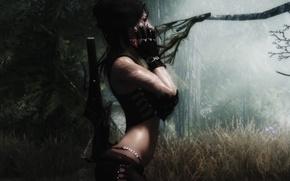 Picture forest, grass, girl, trees, weapons, gloves, Skyrim, The Elder Scrolls V Skyrim