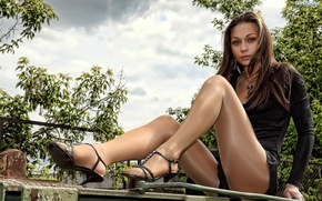 Picture sexy, legs, Girls, chatain