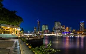 Wallpaper night, bridge, lights, river, home, skyscrapers, Australia, lights, promenade, Brisbane