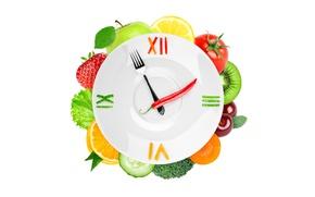 Picture red, cherry, berries, creative, arrows, lemon, watch, Apple, orange, kiwi, cucumber, strawberry, plate, white background, ...